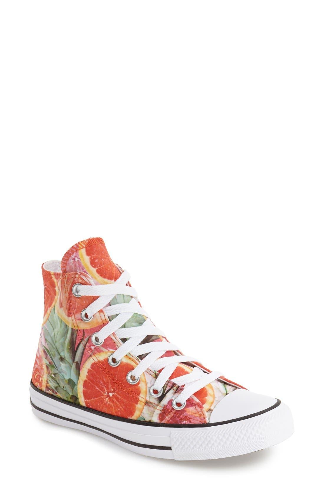 Alternate Image 1 Selected - Converse Chuck Taylor® All Star® Grapefruit Print High Top Sneaker (Women)