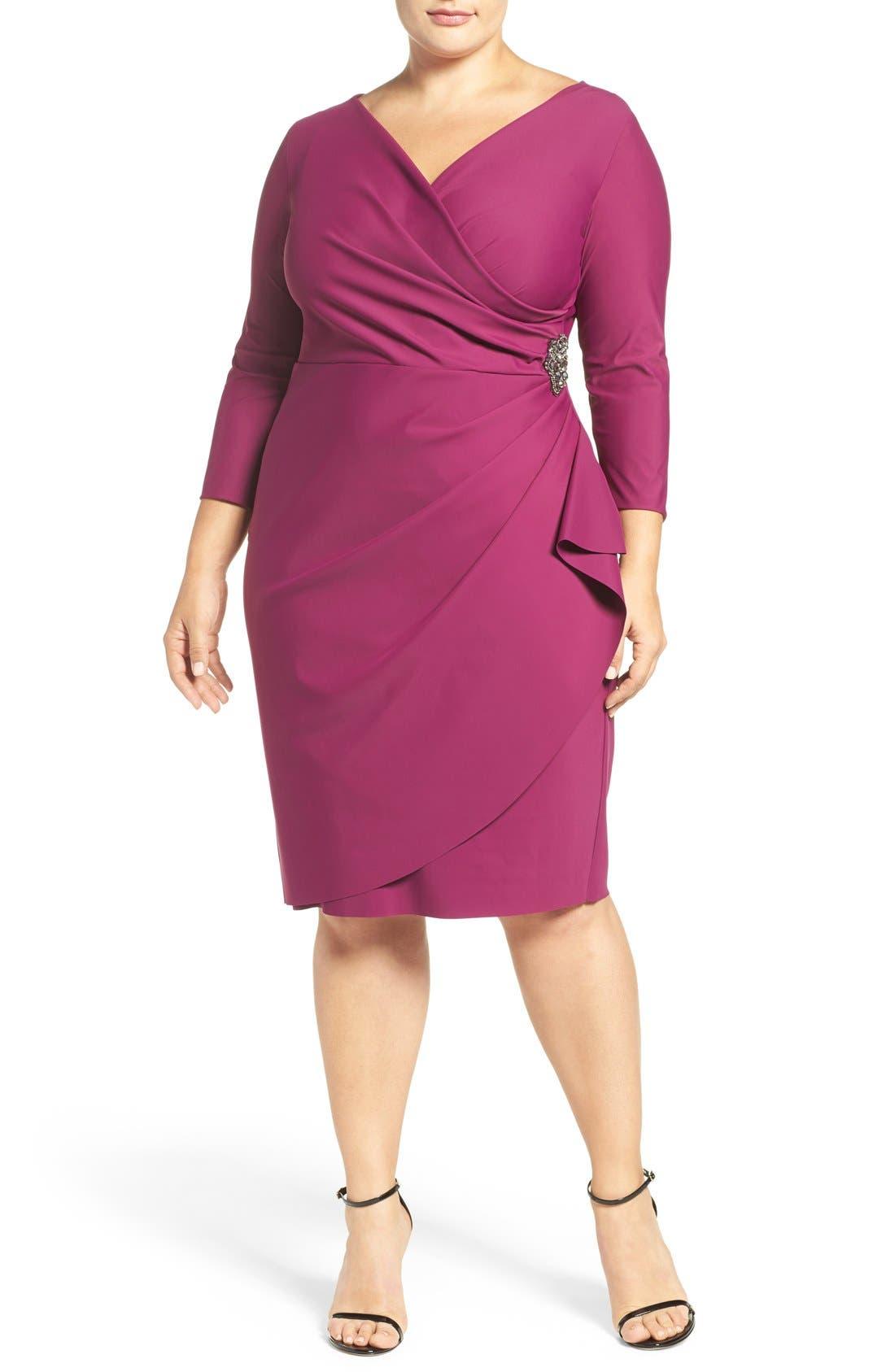Alternate Image 2  - Alex Evenings Embellished Surplice Sheath Dress (Plus Size)