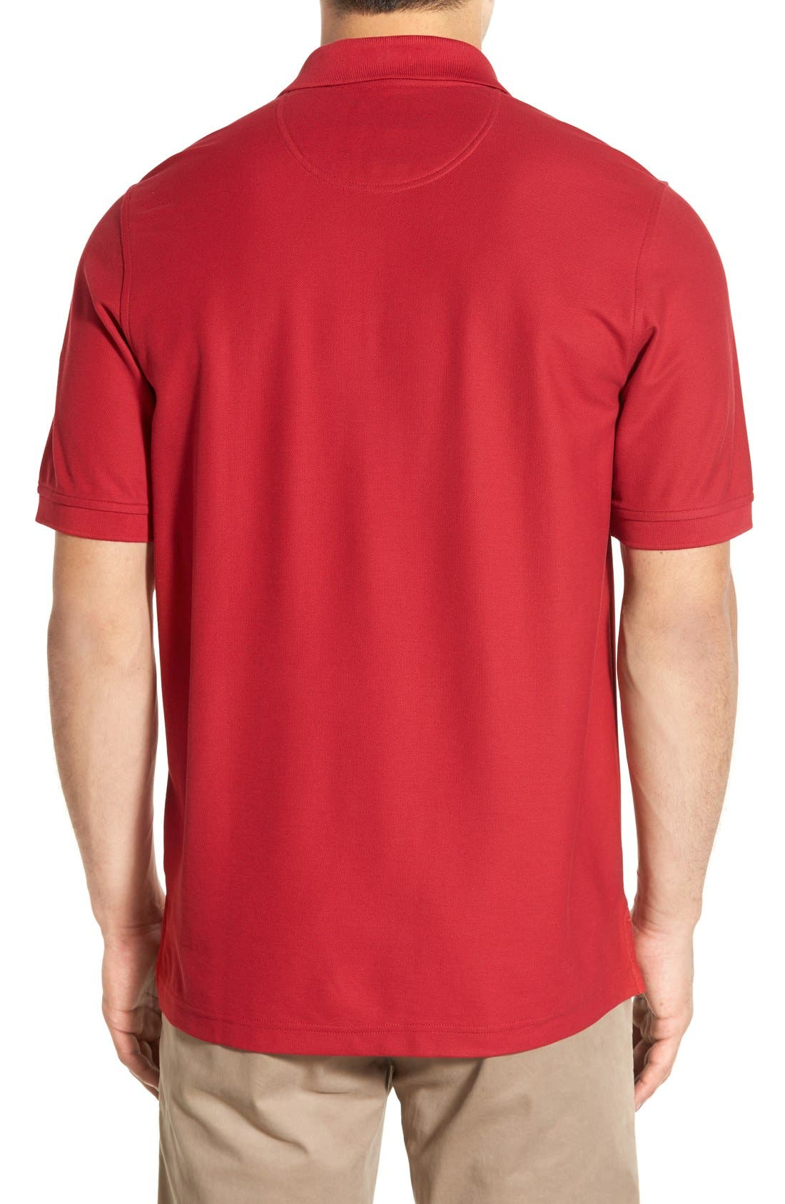 Classic Regular Fit Piqué Polo,                             Alternate thumbnail 2, color,                             Red Rio