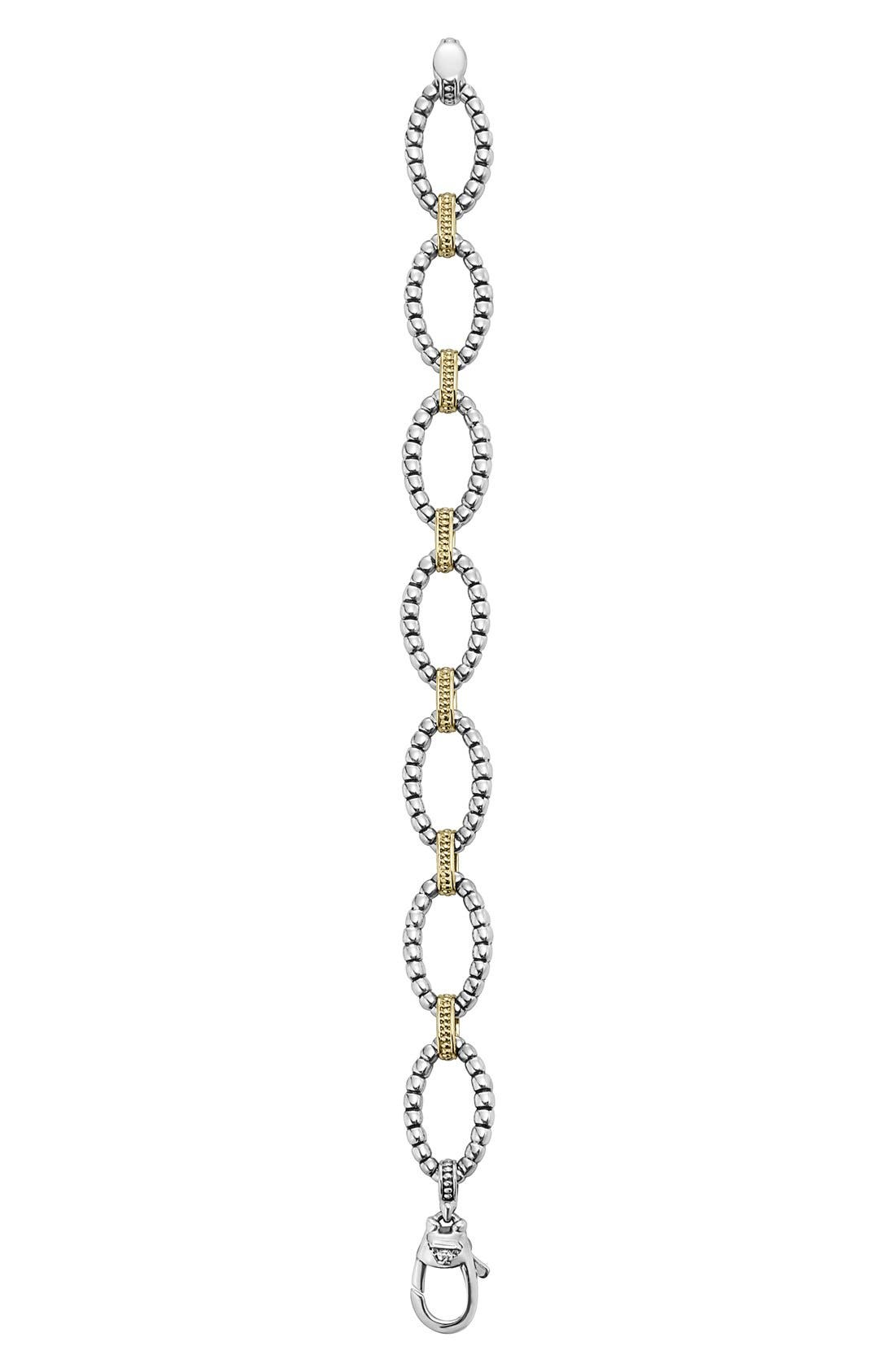 Two-Tone Link Bracelet,                             Alternate thumbnail 2, color,                             Silver/ Gold