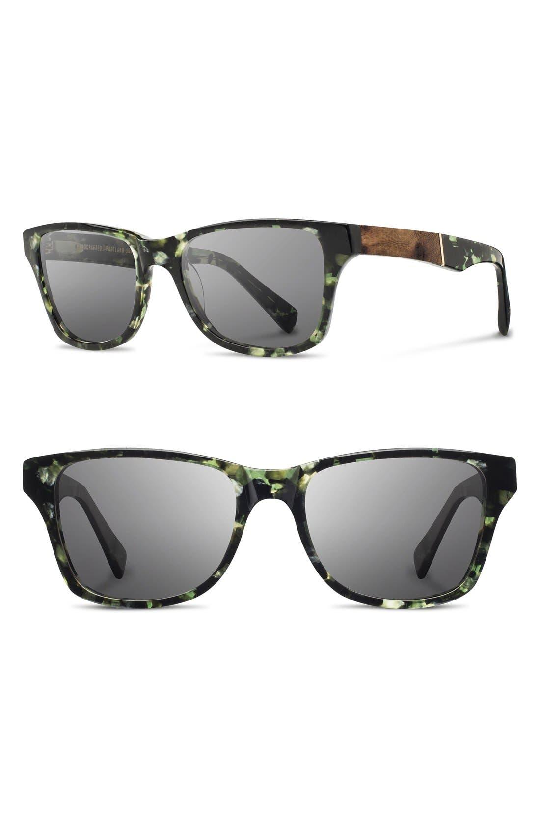 Polarized Wood Inlay Sunglasses,                             Main thumbnail 1, color,                             Darkforest/ Elm/ Grey Polar