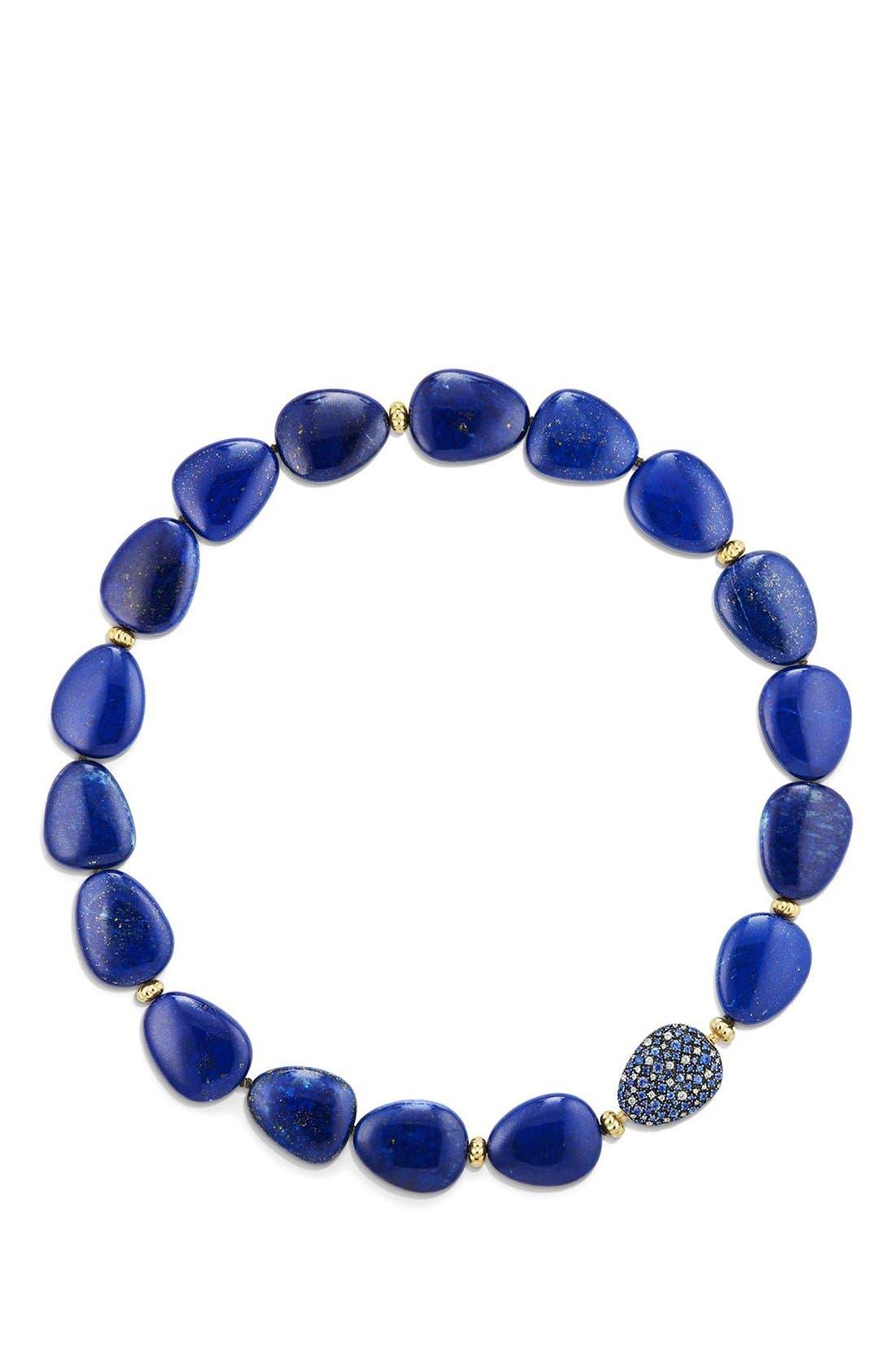 David Yurman 'Bead & Chain' Short Necklace with Jasper & Sapphires in 18K Gold
