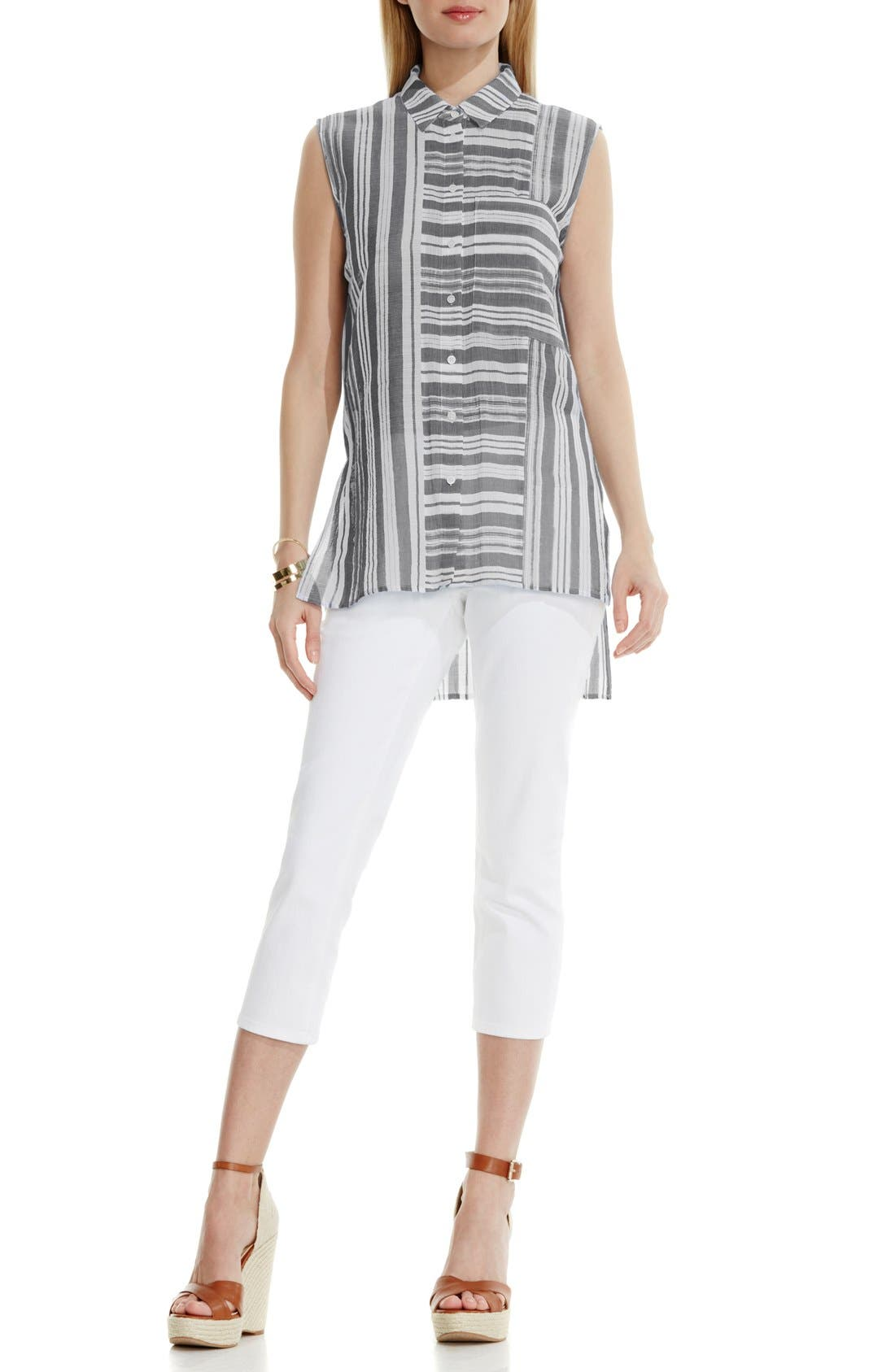 Alternate Image 2  - Two by Vince Camuto Sheer Stripe Sleeveless Blouse