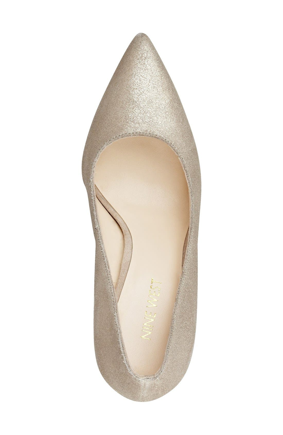 'Tatiana' Pump,                             Alternate thumbnail 3, color,                             Natural/ Gold Metallic Suede
