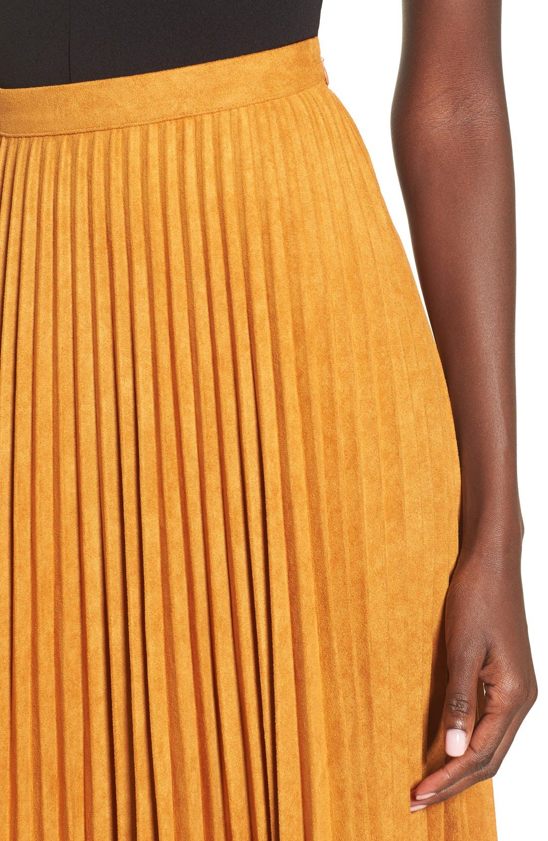 Alternate Image 5  - Storee Pleated Faux Suede Skirt
