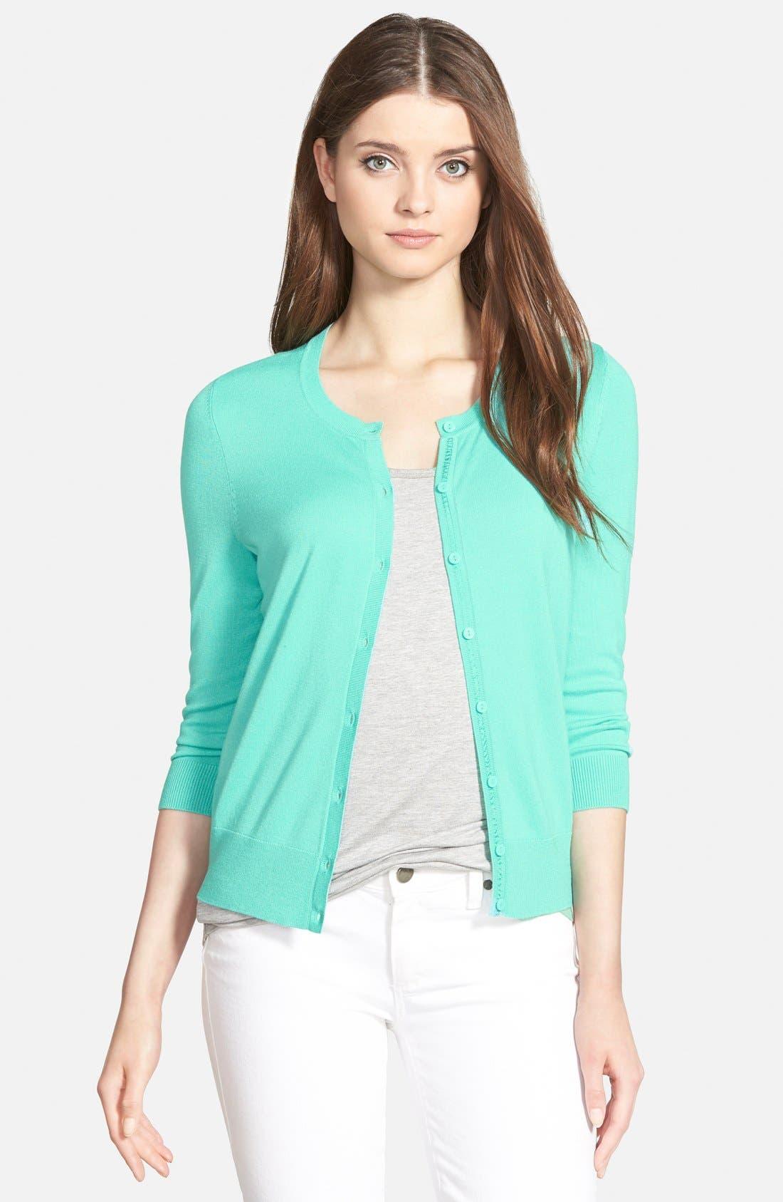 Alternate Image 1 Selected - Halogen® Three Quarter Sleeve Cardigan (Regular & Petite)