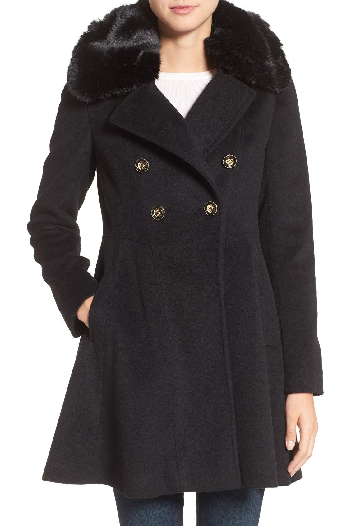 Double Breasted Coat with Faux Fur Collar,                         Main,                         color, Black