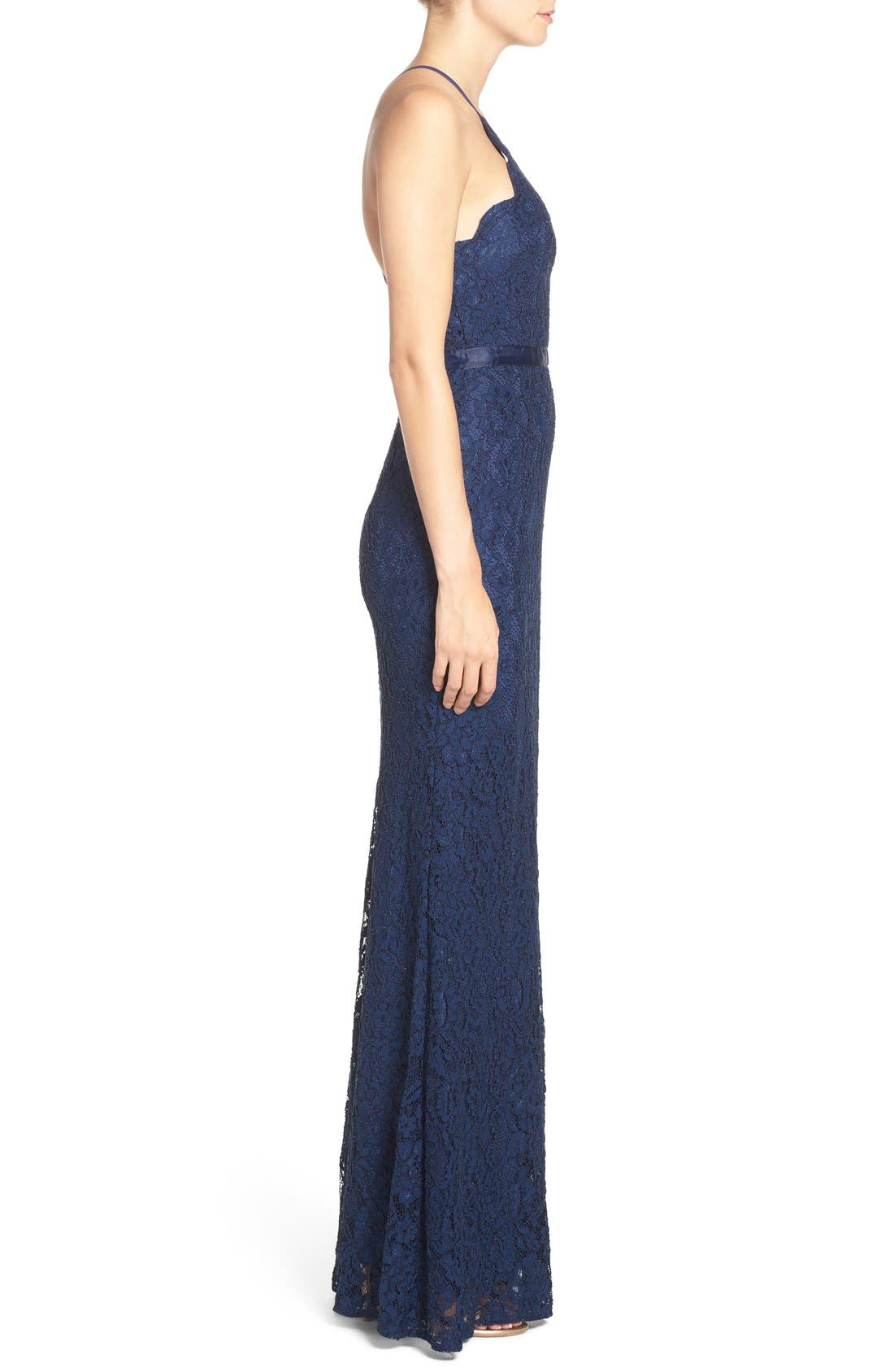 Spaghetti Strap Scallop Lace Mermaid Gown,                             Alternate thumbnail 3, color,                             Navy