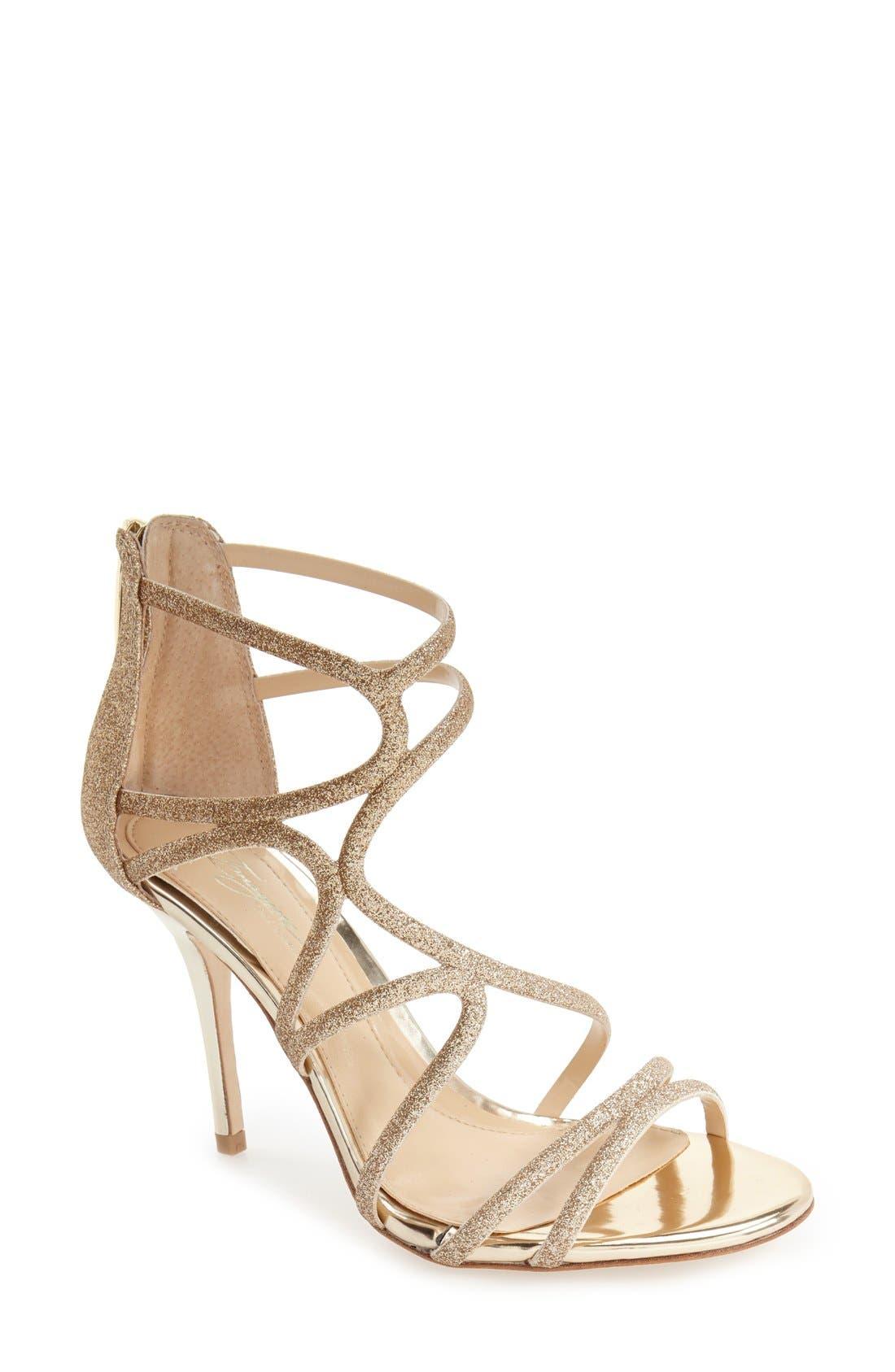 'Ranee' Dress Sandal,                             Main thumbnail 1, color,                             Champagne Leather