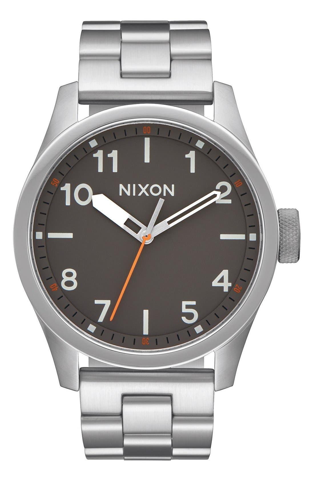 'Safari' Bracelet Watch, 43mm,                             Main thumbnail 1, color,                             Silver/ Gunmetal
