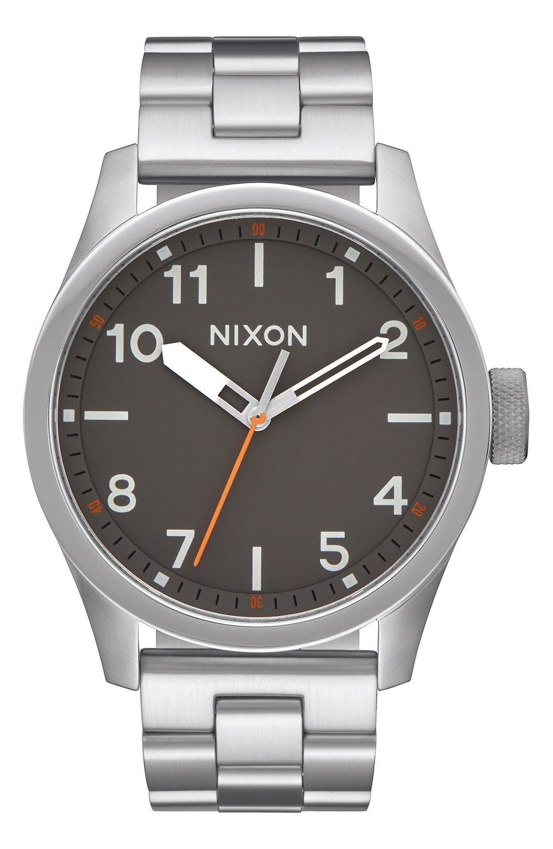 'Safari' Bracelet Watch, 43mm,                         Main,                         color, Silver/ Gunmetal