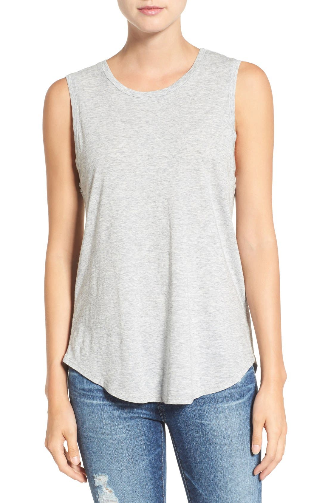 Ashton Cotton Muscle Tee,                         Main,                         color, Heather Grey
