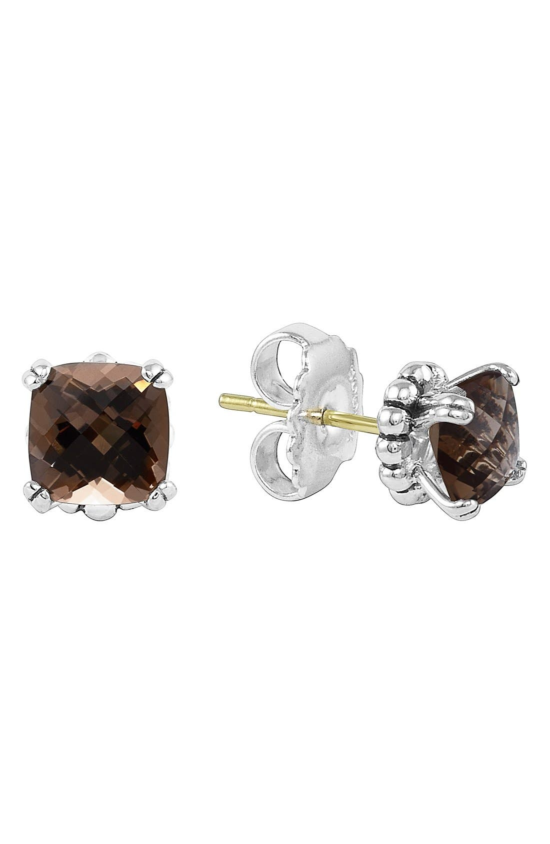 'Prism' Stud Earrings,                             Main thumbnail 1, color,                             Silver/ Smokey Quartz