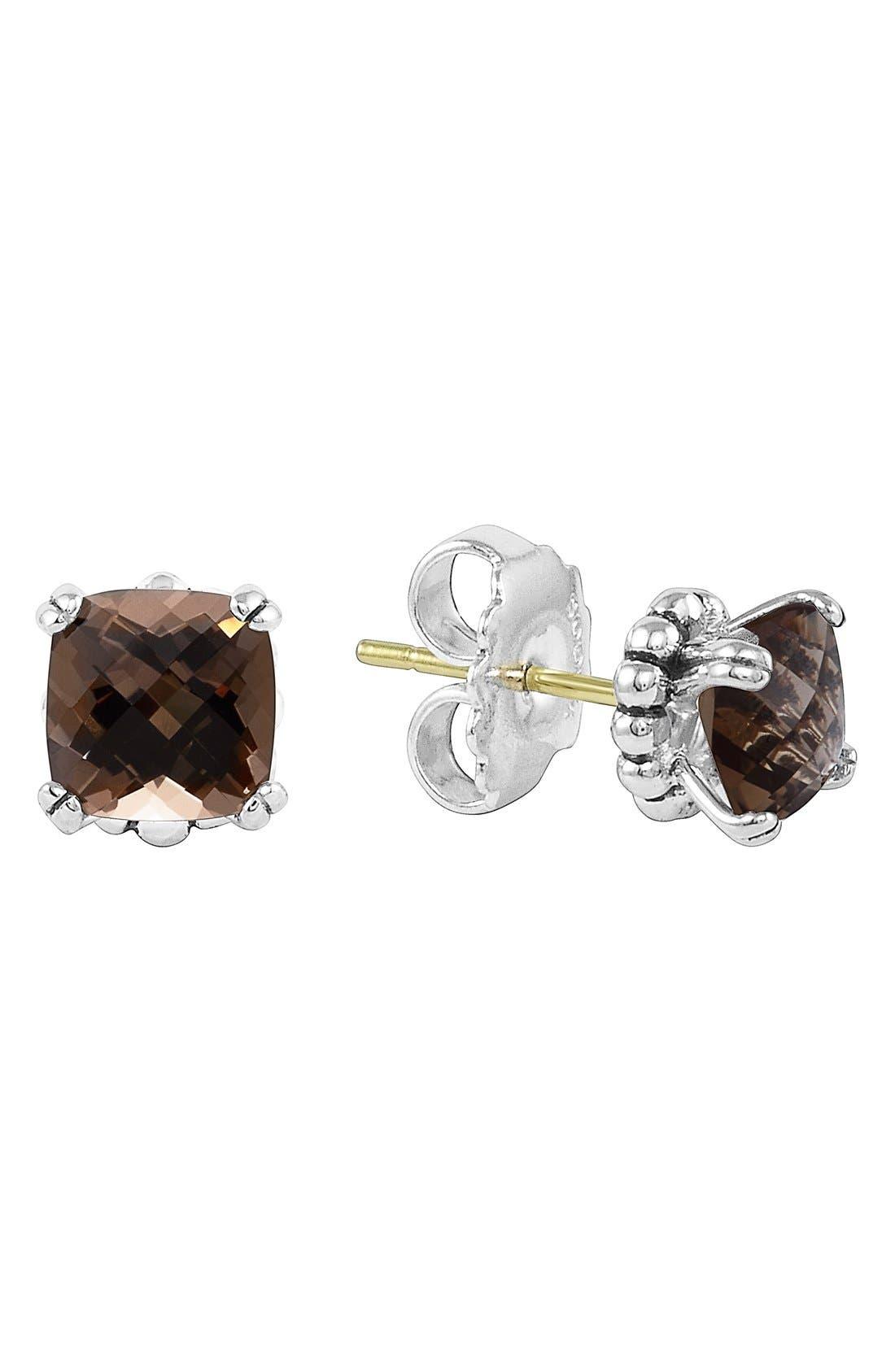 'Prism' Stud Earrings,                         Main,                         color, Silver/ Smokey Quartz
