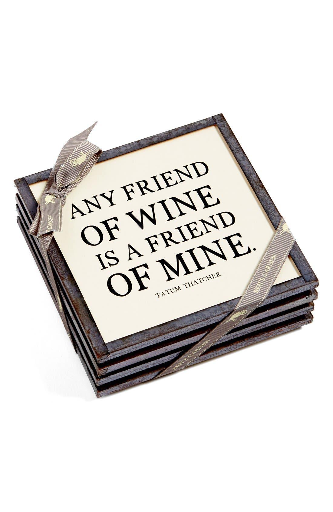 Alternate Image 2  - Ben's Garden 'Any Friend of Wine' Coasters (Set of 4)