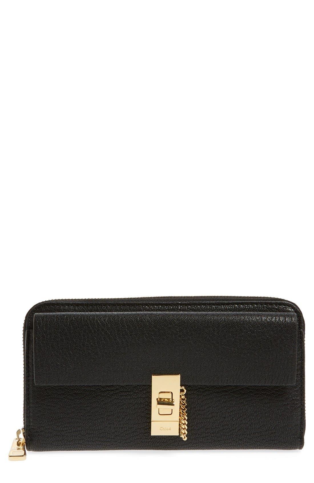 'Drew' Calfskin Leather Zip Around Wallet,                         Main,                         color, Black