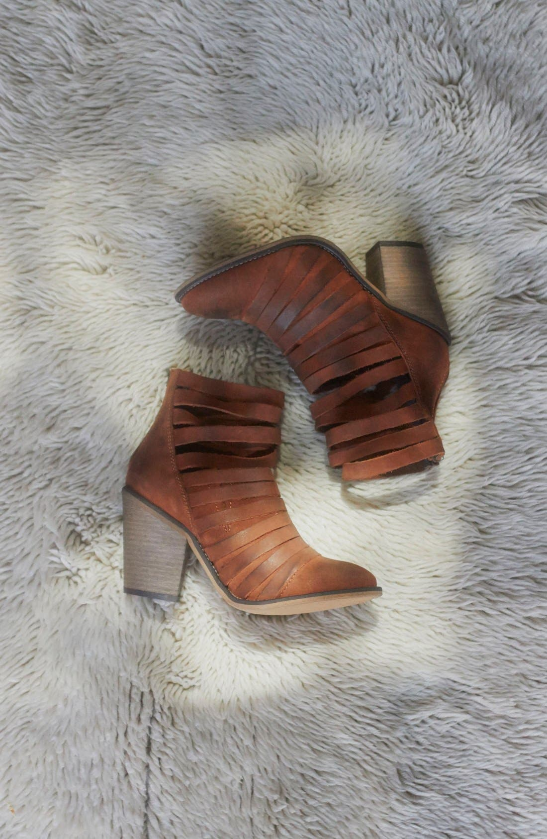 'Hybrid' Strappy Leather Bootie,                             Alternate thumbnail 6, color,                             Terracotta Leather