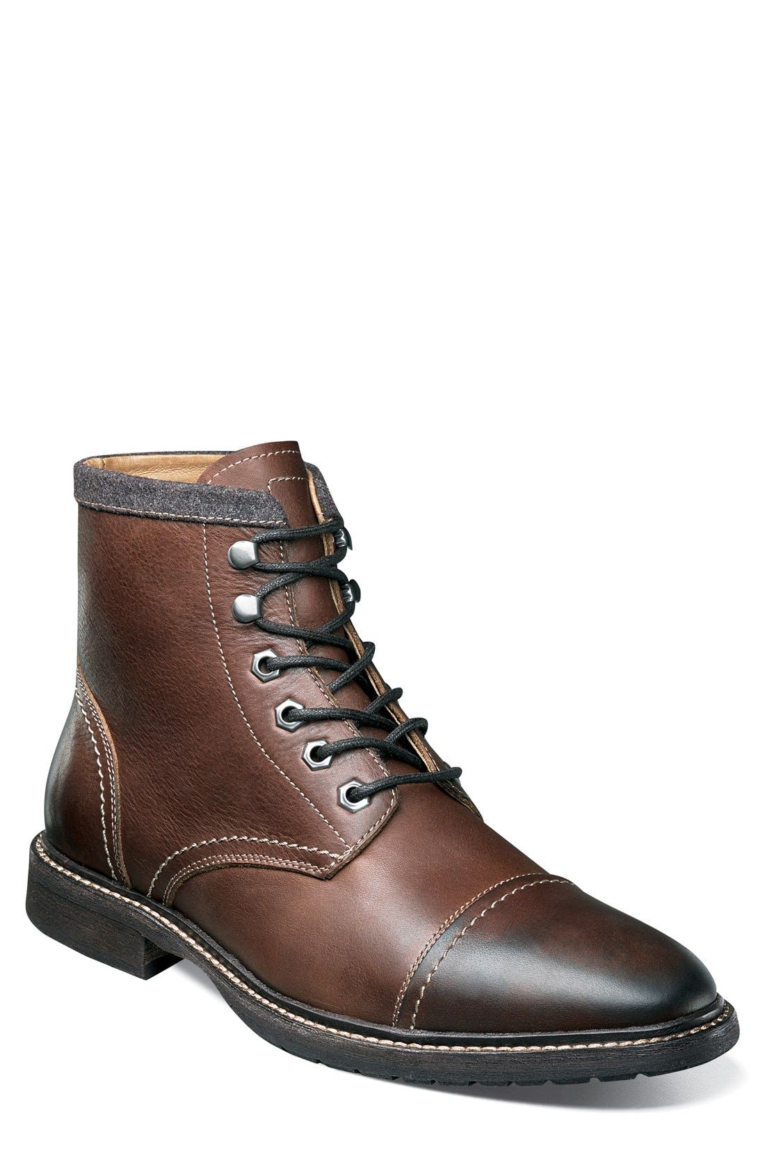 'Indie' Cap Toe Boot,                             Main thumbnail 1, color,                             Chestnut Leather