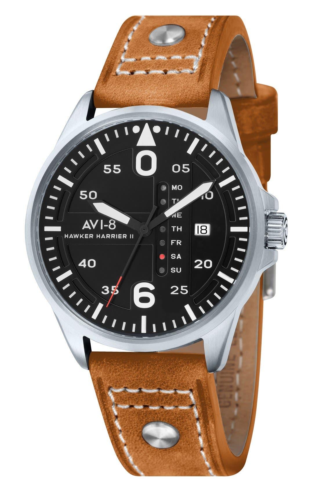 AVI-8 'Hawker Harrier II' Leather Strap Watch, 45mm
