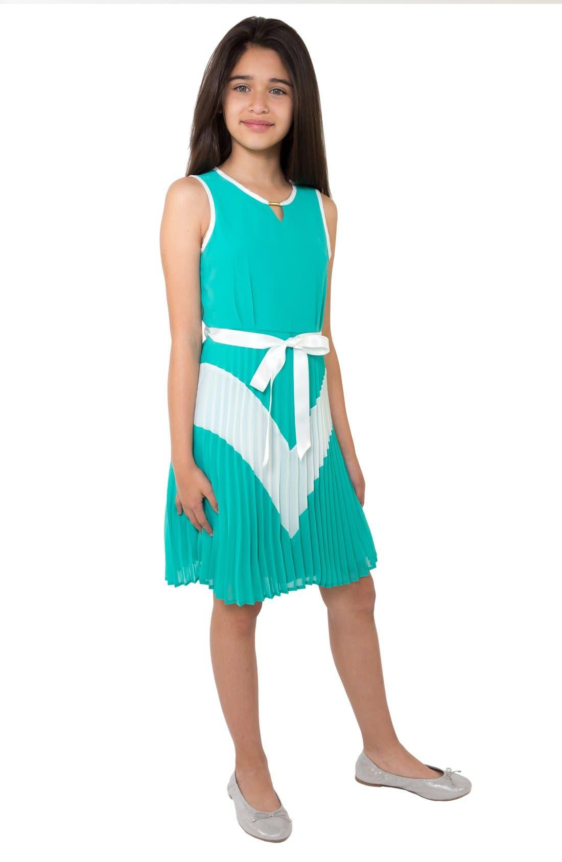BLUSH by Us Angels Sleeveless Colorblock Dress (Big Girls)