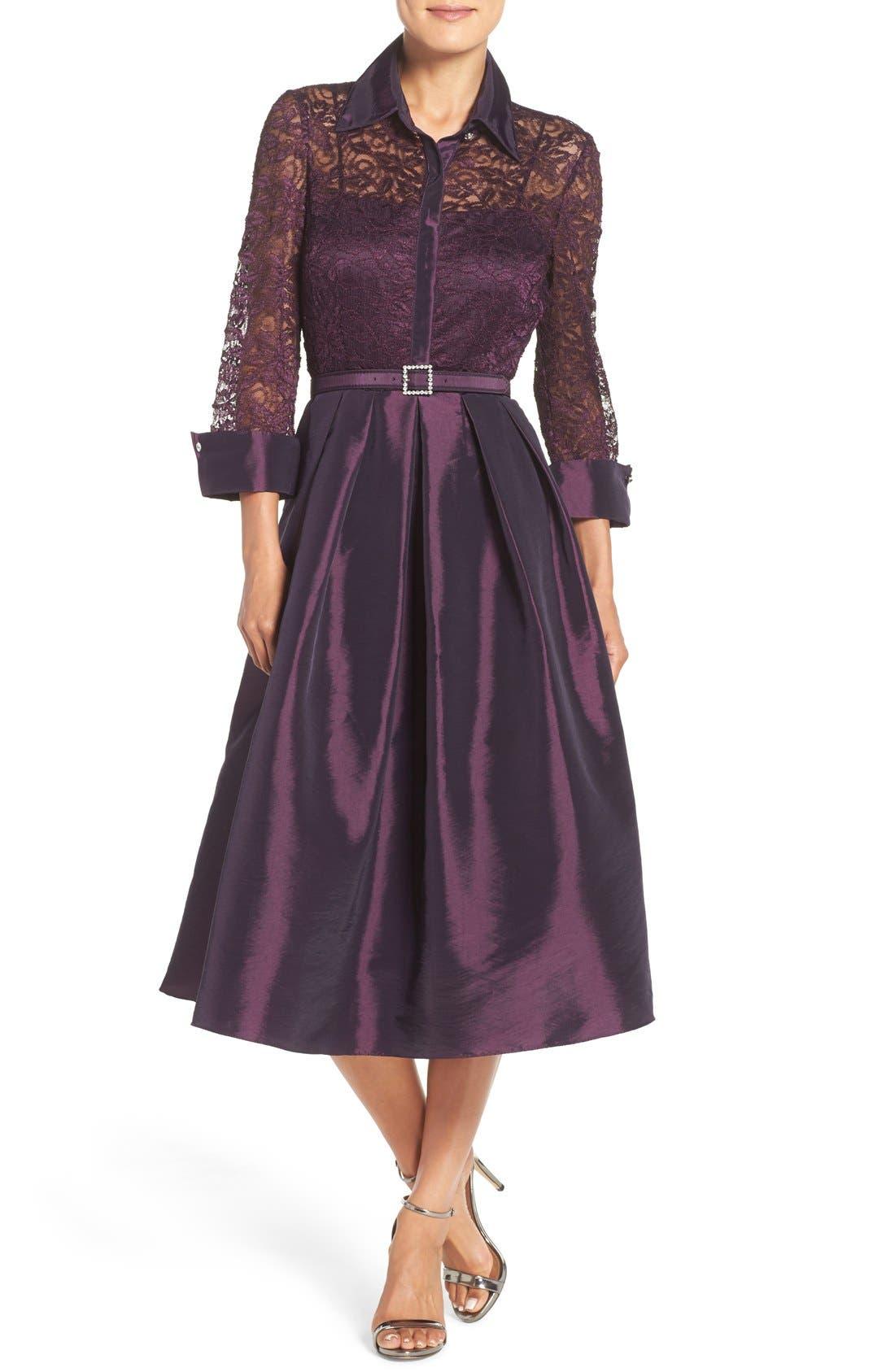 Mixed Media Fit & Flare Dress,                             Main thumbnail 1, color,                             Plum