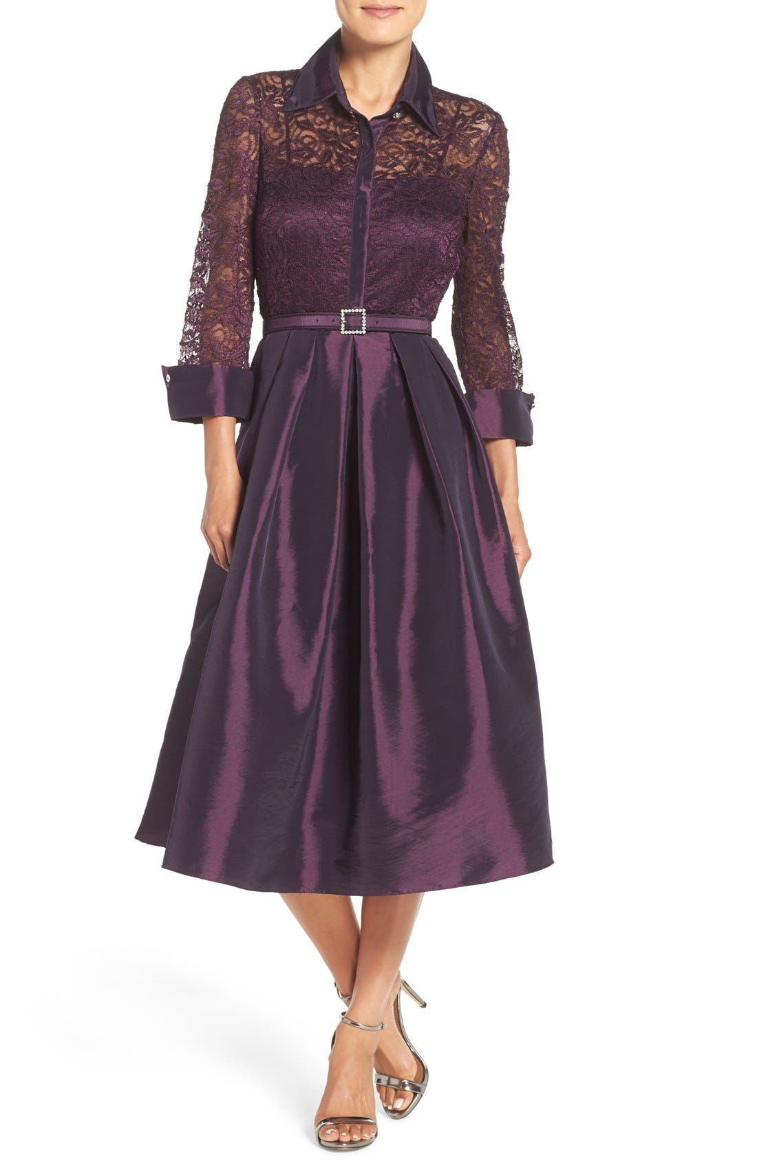 Mixed Media Fit & Flare Dress,                         Main,                         color, Plum