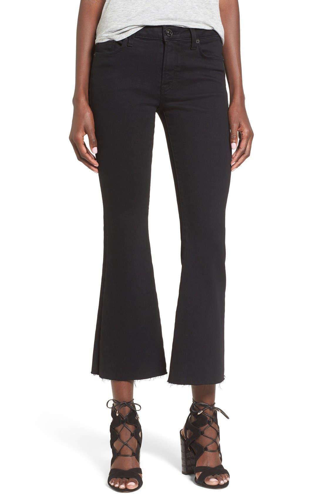 'Mia' Raw Hem Crop Flare Jeans,                         Main,                         color, Black