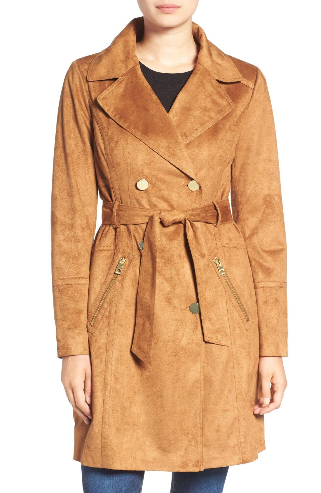 Faux Suede Double Breasted Trench Coat,                         Main,                         color, Saddle