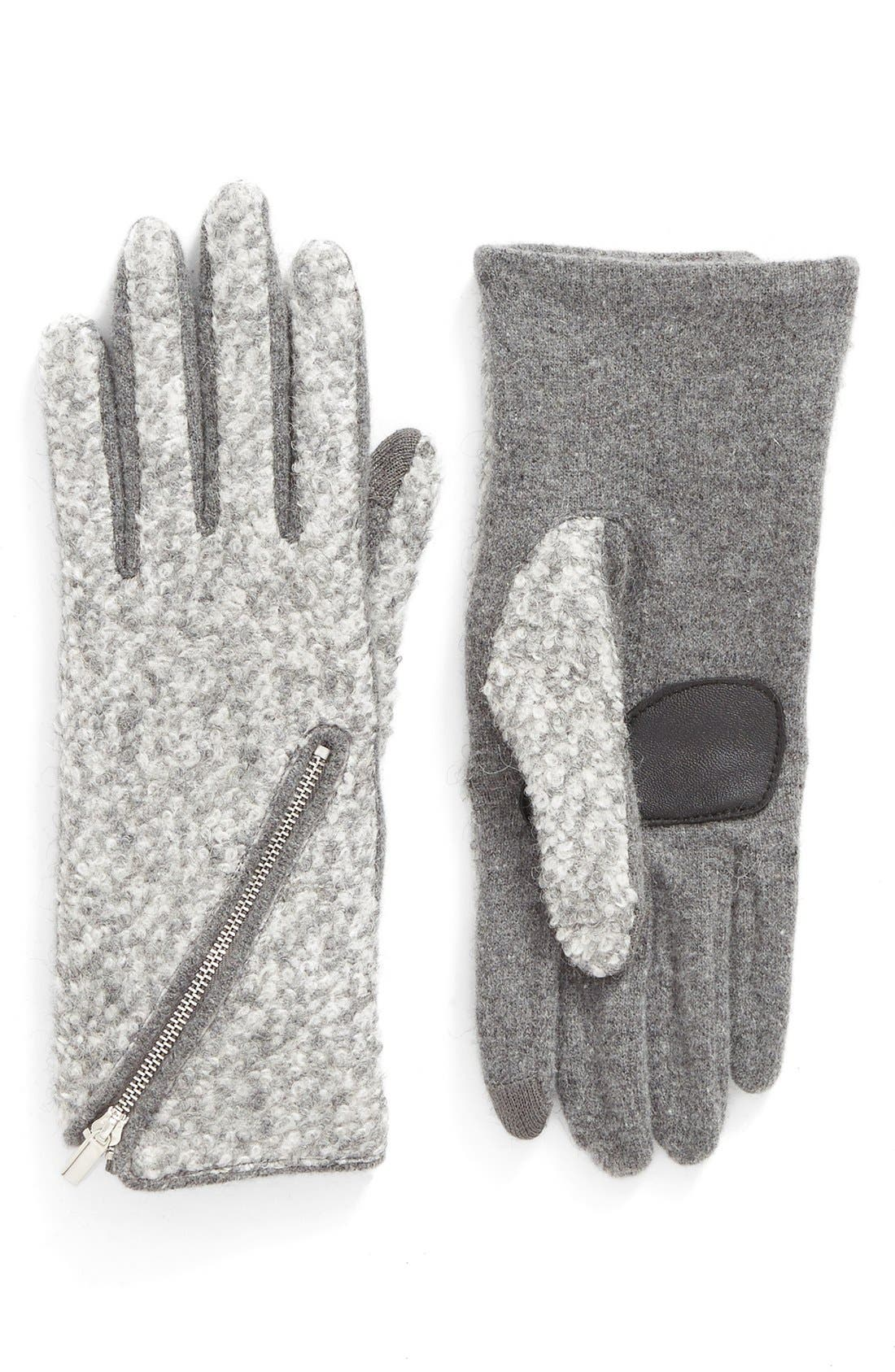 'Touch - Zip Bouclé' Tech Gloves,                         Main,                         color, Heather Gray