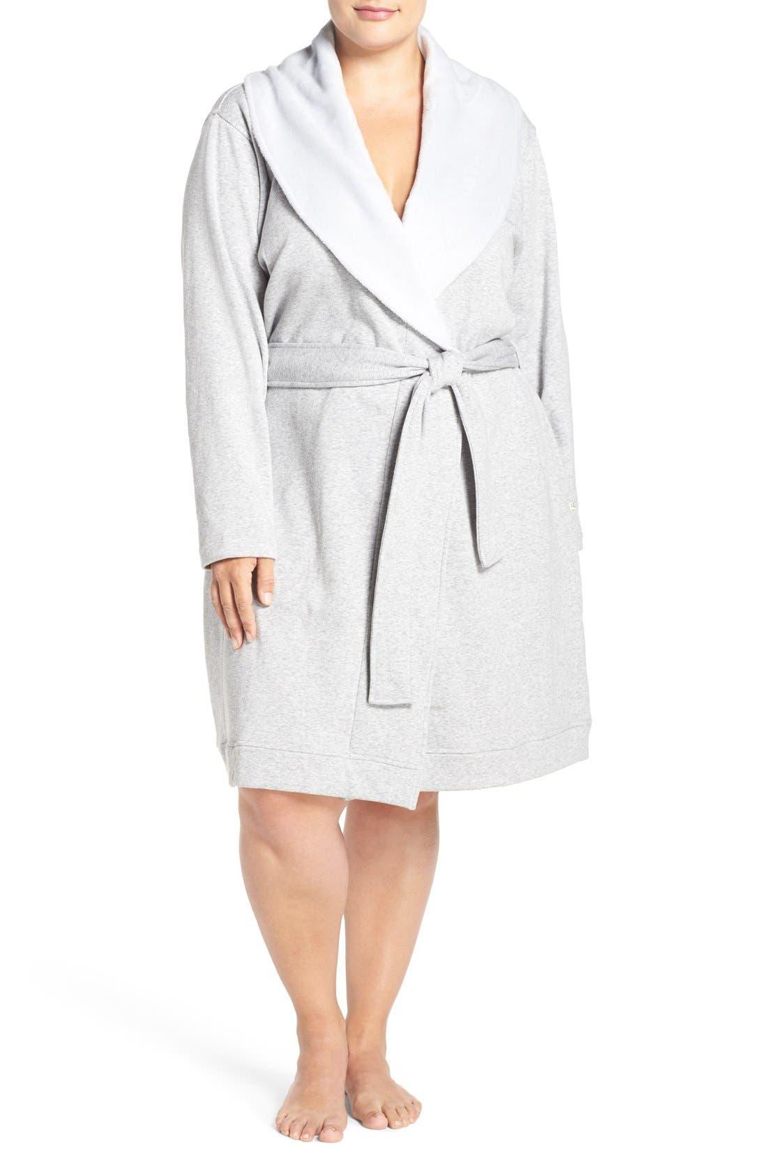 'Blanche' Plush Shawl Collar Robe,                             Main thumbnail 1, color,                             Seal Heather
