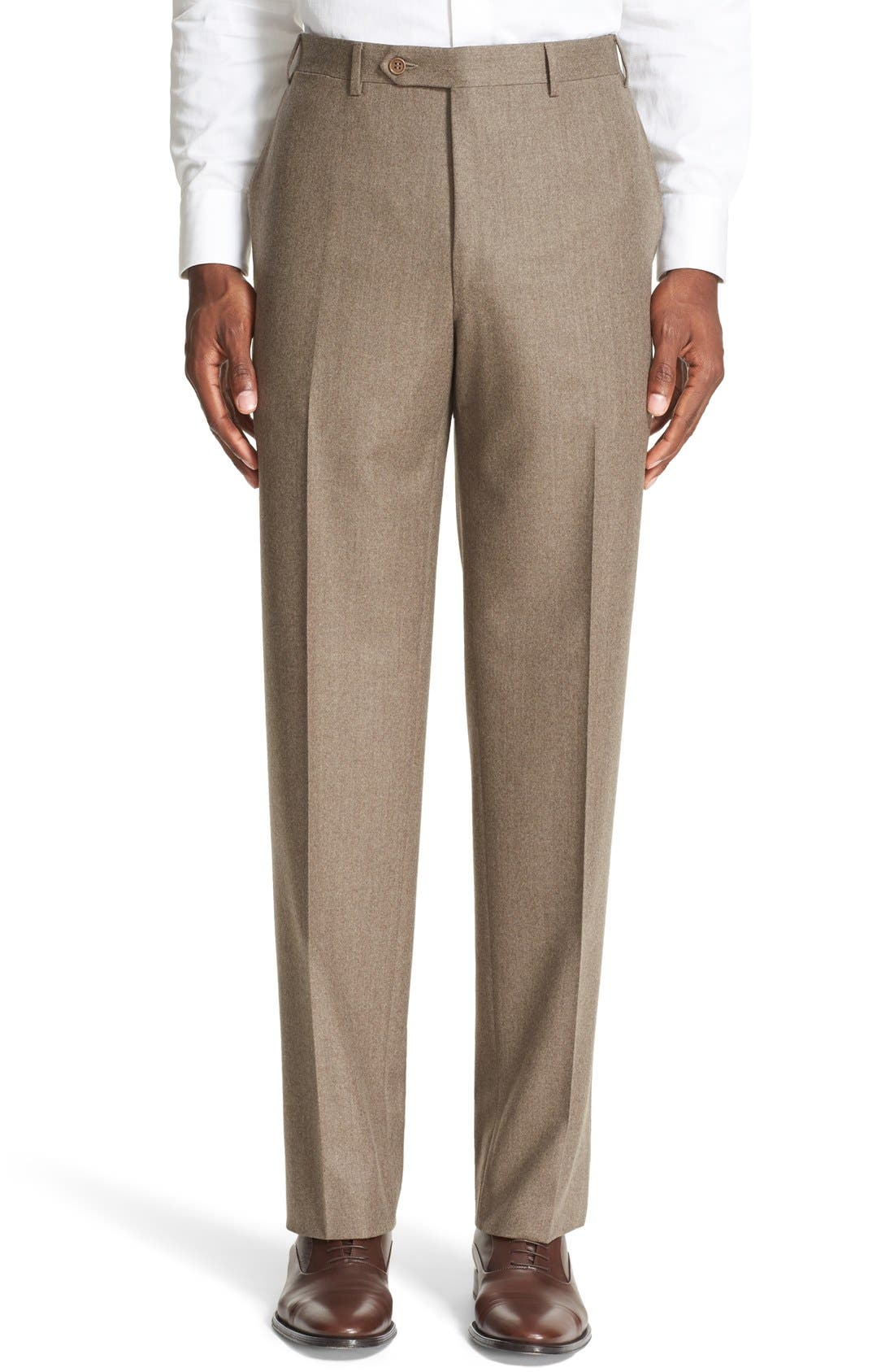 Flat Front Solid Wool Trousers,                             Main thumbnail 1, color,                             Tan