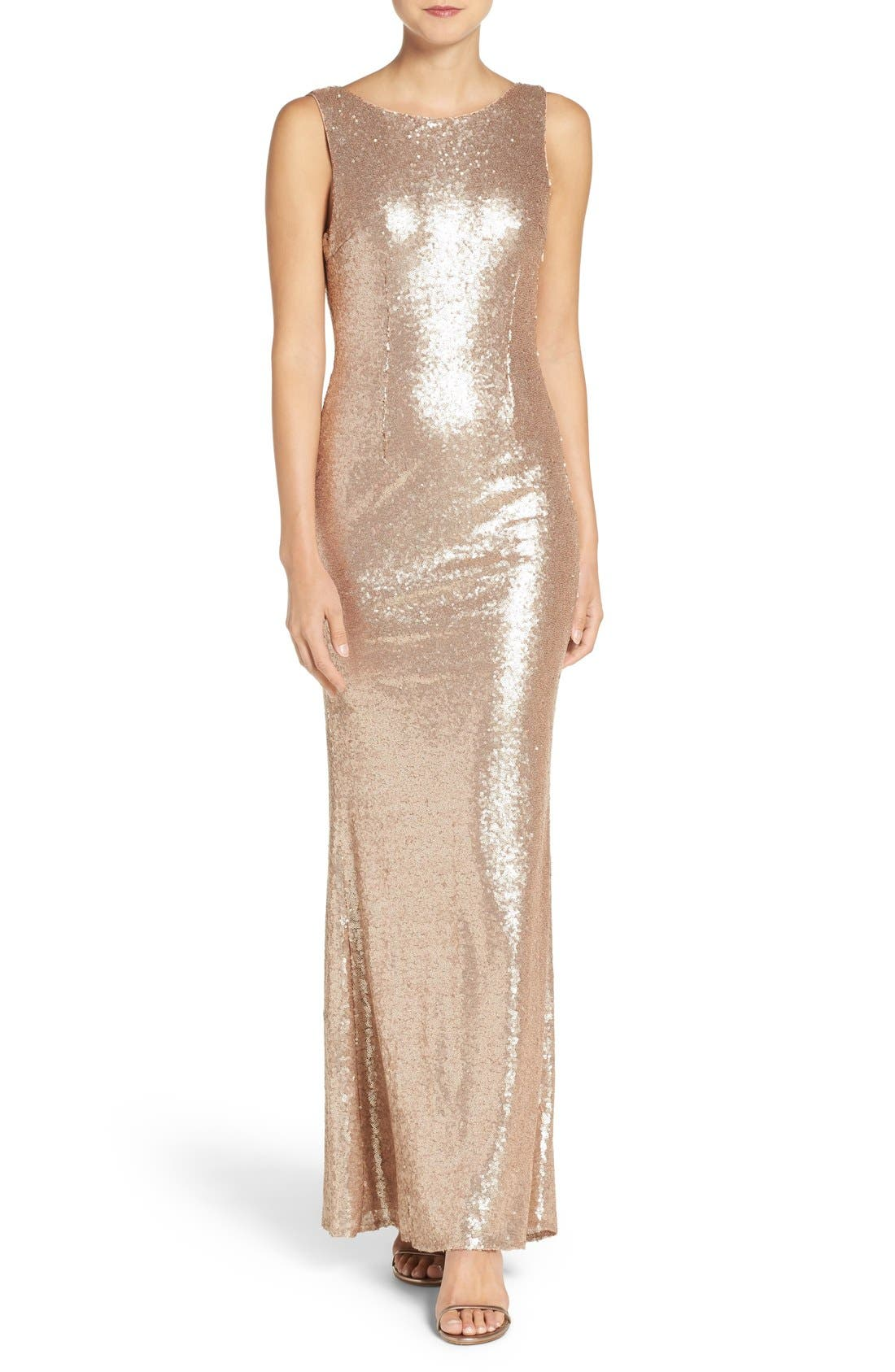 Sleeveless Sequin Drape Back Gown,                         Main,                         color, Matte Rosegold