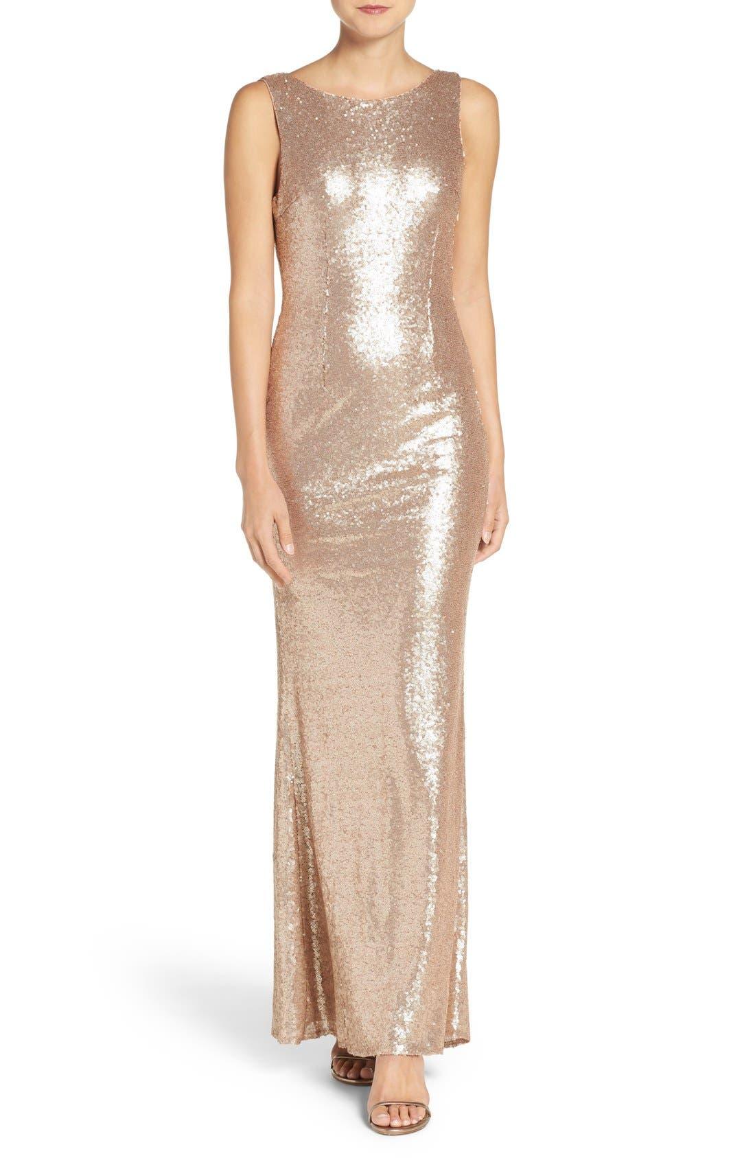 Lulus Sleeveless Sequin Drape Back Gown
