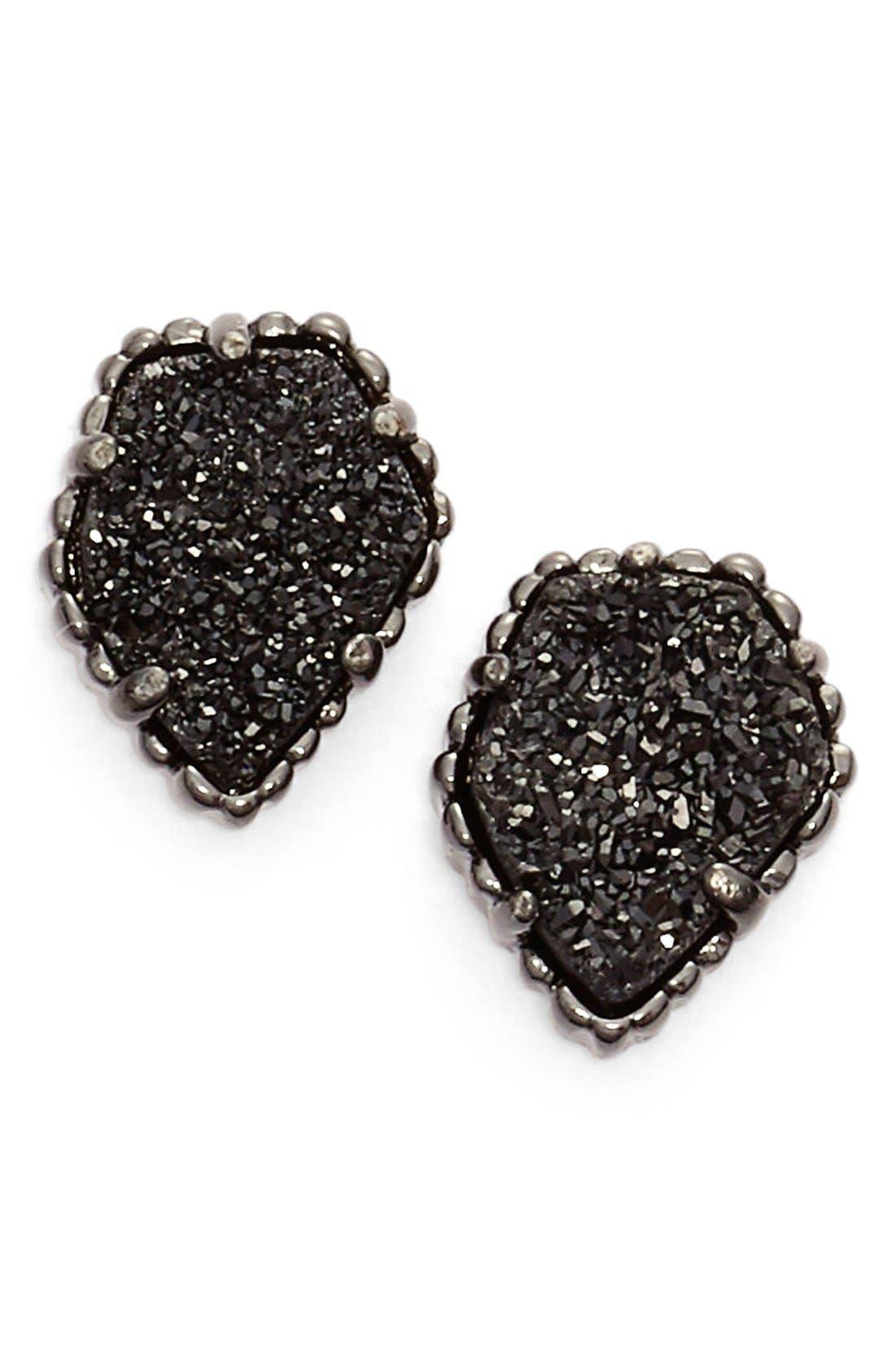 Tessa Stone Stud Earrings,                             Main thumbnail 1, color,                             Black Drusy/ Gunmetal