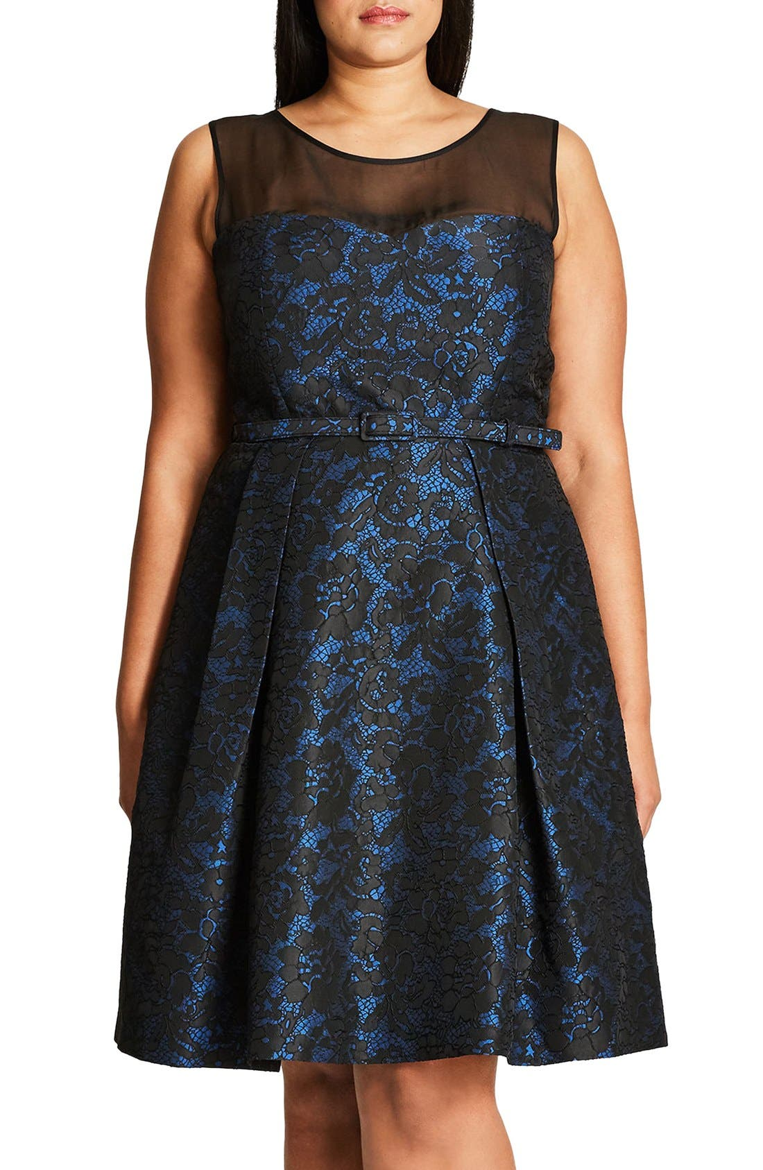 'After Dark' Lace Fit & Flare Dress,                         Main,                         color, Blue Royal