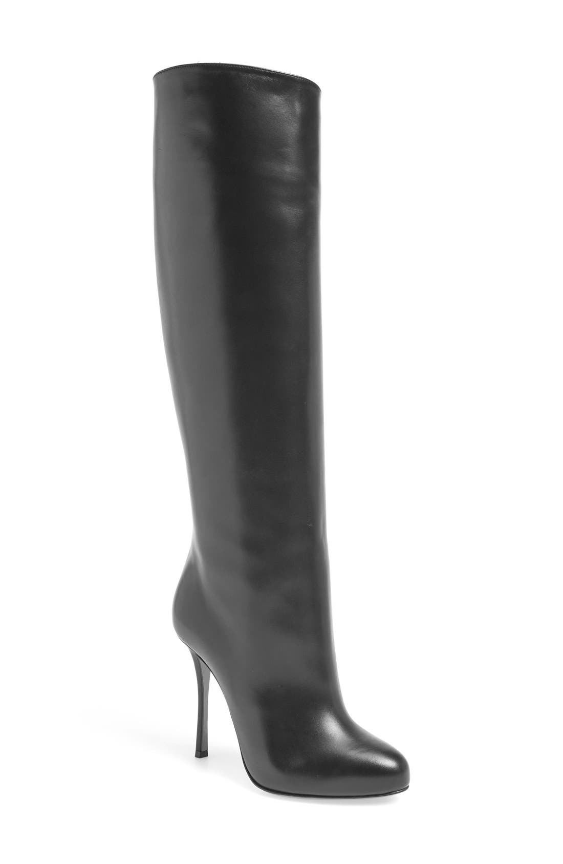 christian louboutin knee high boots black