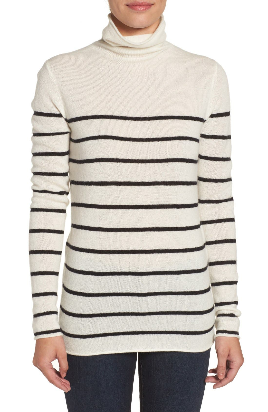Wool & Cashmere Funnel Neck Sweater,                         Main,                         color, Ivory- Black Stripe