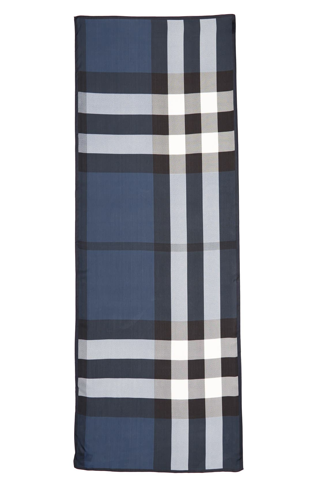 BURBERRY Ultra Mega Check Washed Mulberry Silk Scarf