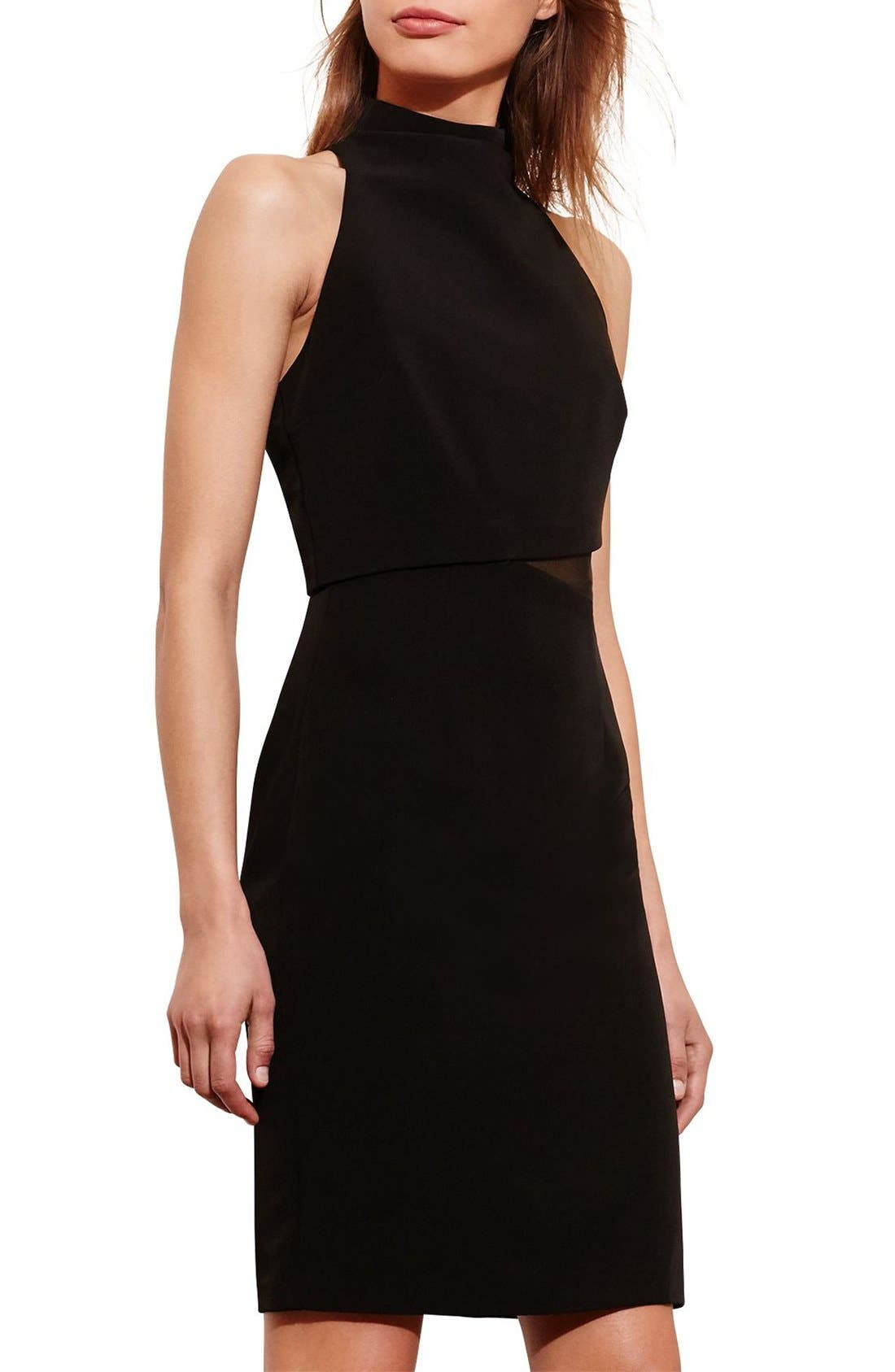 Main Image - Lauren Ralph Lauren Asymmetrical Stretch Sheath Dress