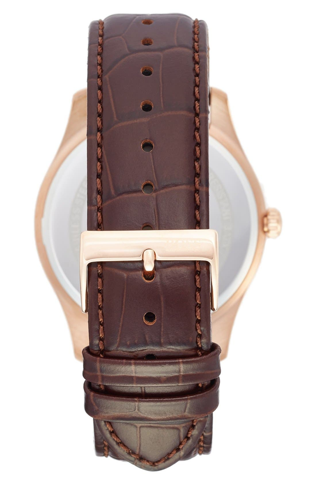 'Ambassador' Embossed Leather Strap Watch, 43mm,                             Alternate thumbnail 2, color,                             Grey/ Brown
