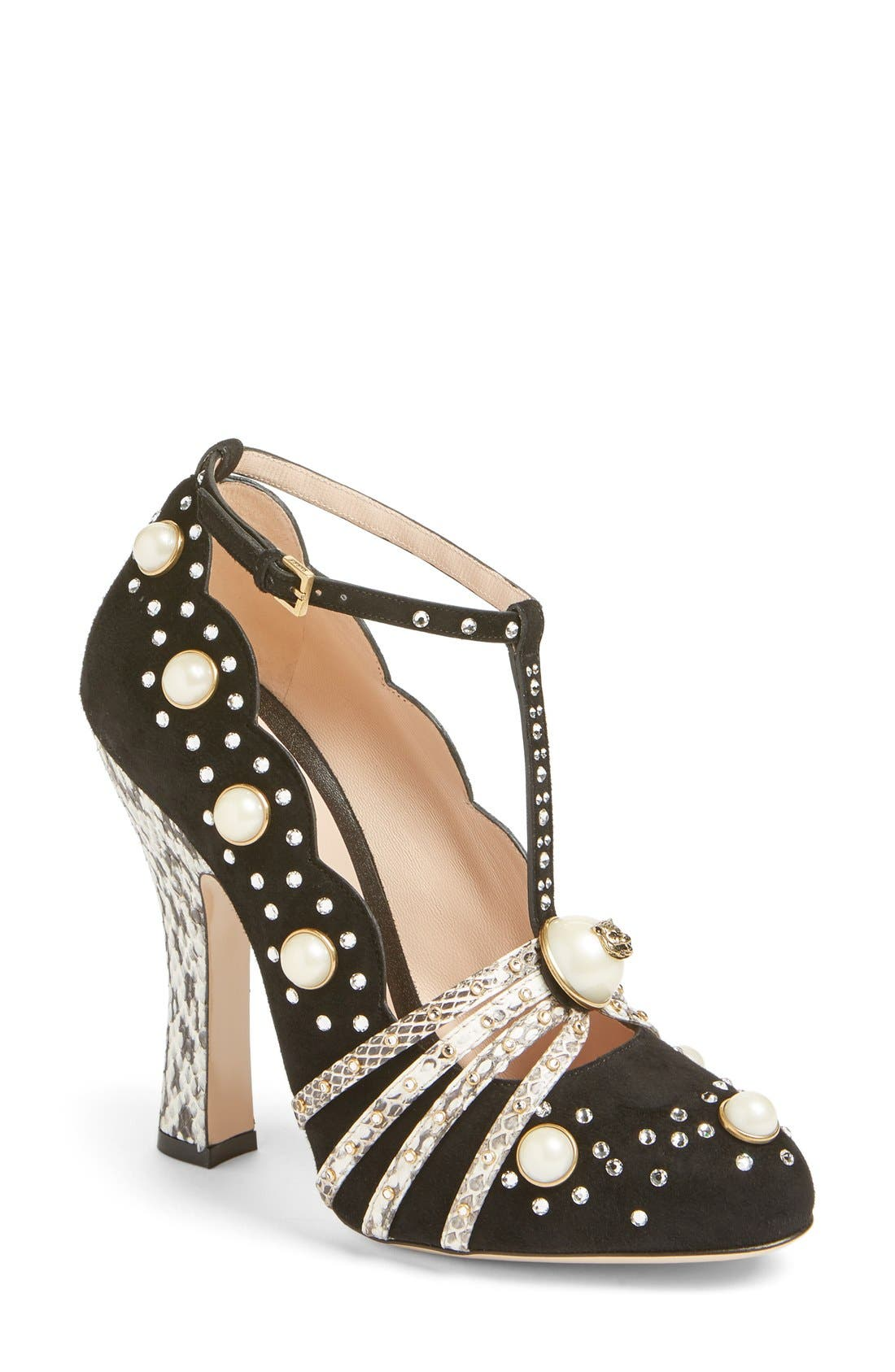 Main Image - Gucci Ofelia Pearly Crystal Embellished Pump (Women)