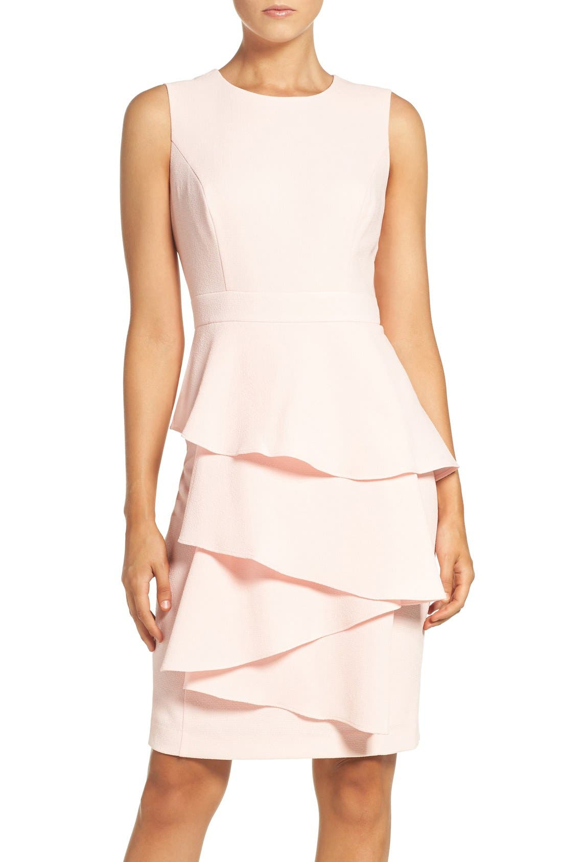 Ella Cascade Crepe Sheath Dress,                             Main thumbnail 1, color,                             Blush
