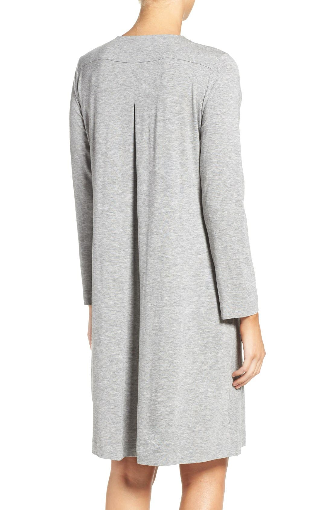 Long Sleeve Knit Nightgown,                             Alternate thumbnail 2, color,                             Grey Melange 958
