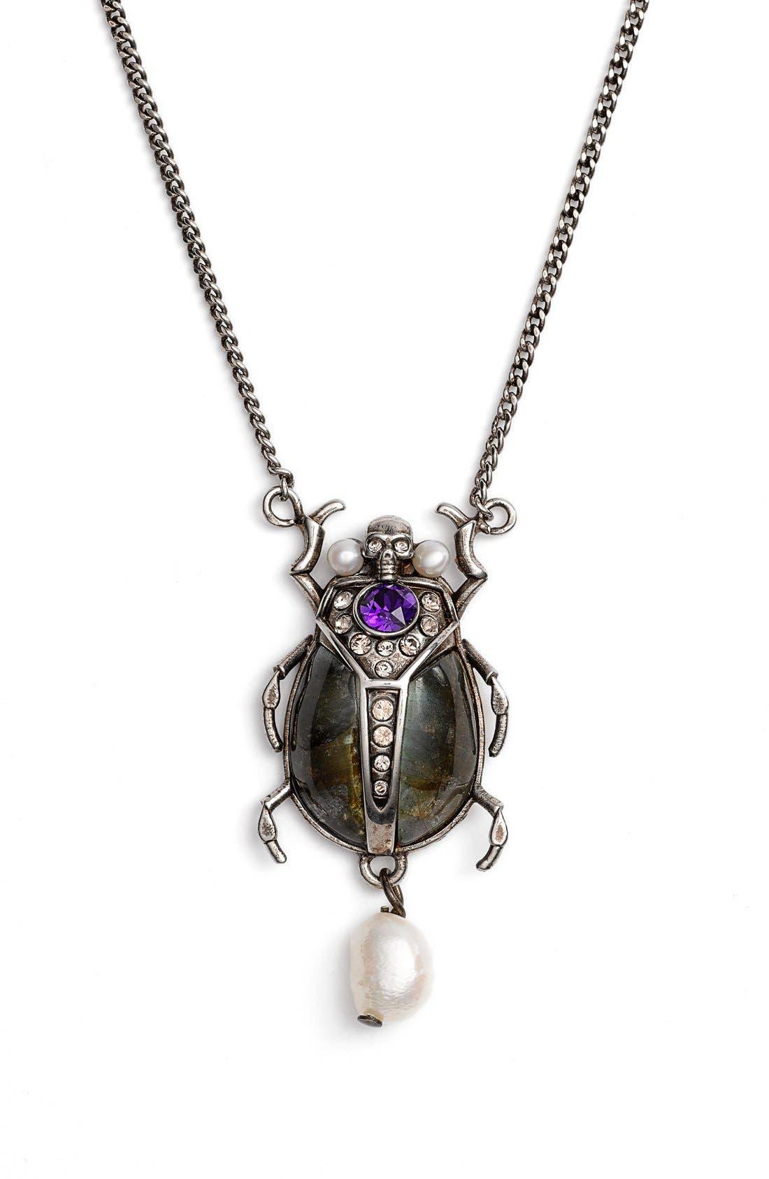 Alternate Image 1 Selected - Alexander McQueen Beetle Pendant Necklace