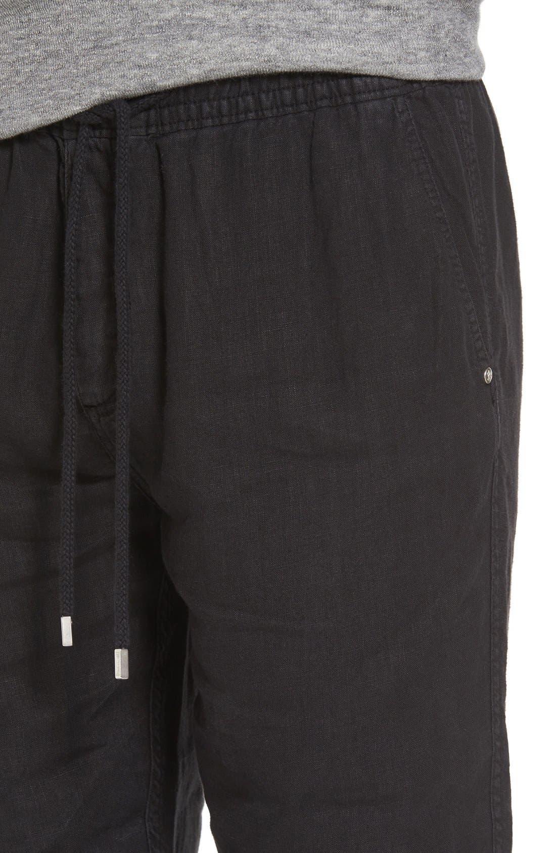 'Classic' Linen Pants,                             Alternate thumbnail 4, color,                             Black