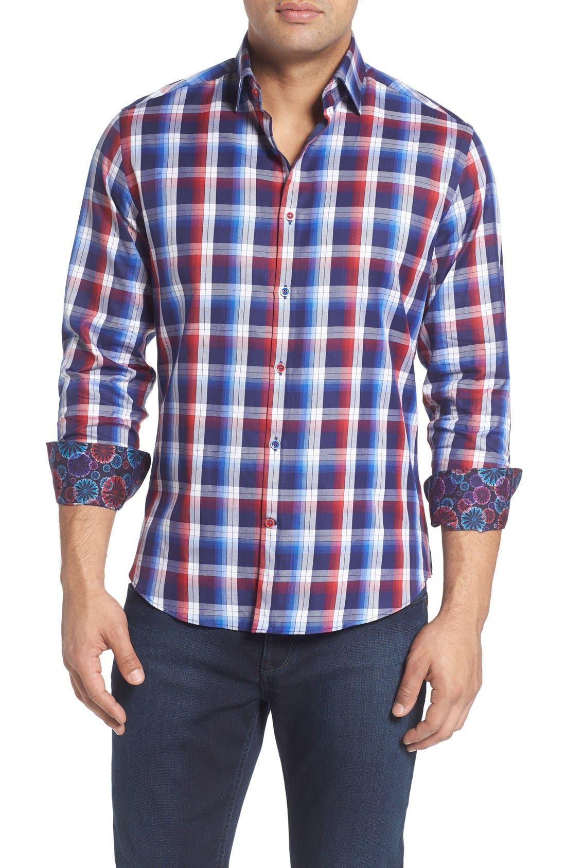 Slim Fit Plaid Sport Shirt,                             Main thumbnail 1, color,                             Red