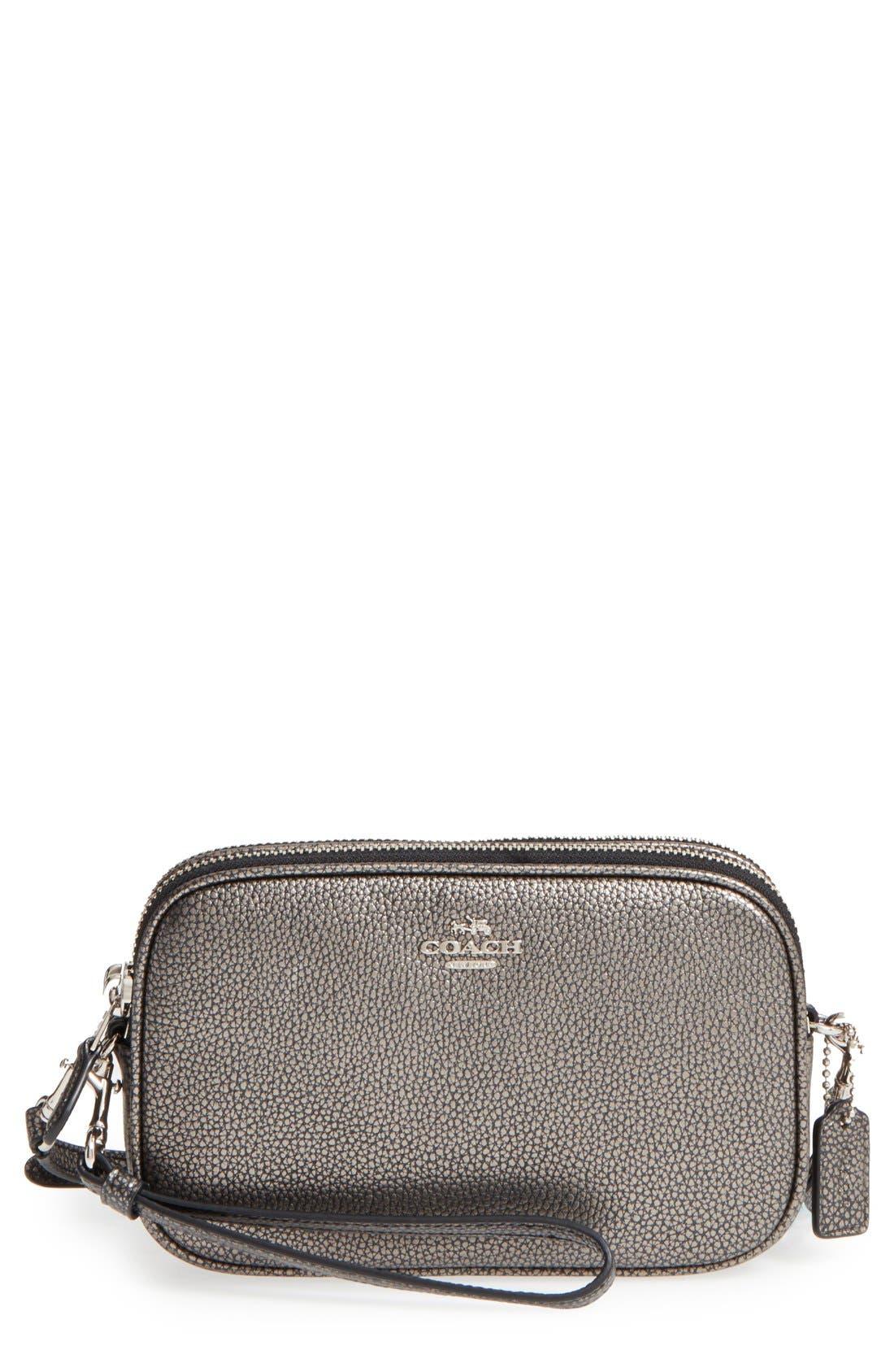 Convertible Leather Crossbody Bag,                             Main thumbnail 1, color,                             Gunmetal/ Silver