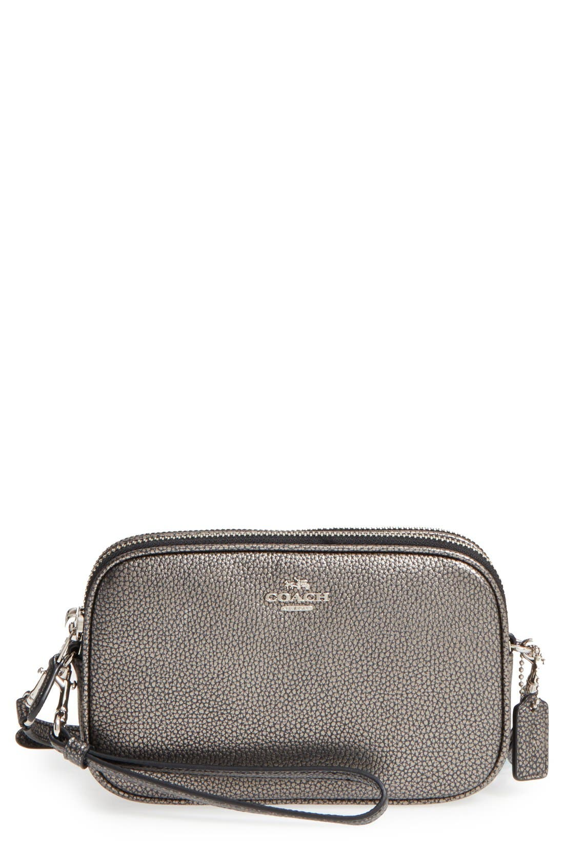Convertible Leather Crossbody Bag,                         Main,                         color, Gunmetal/ Silver