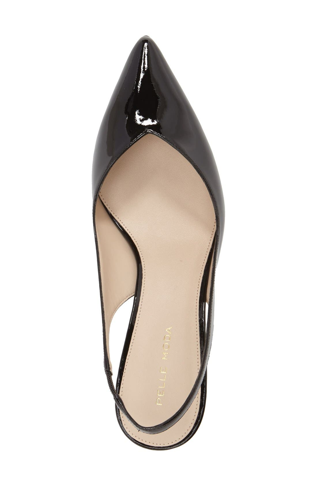'Oasis' Slingback Pump,                             Alternate thumbnail 3, color,                             Black Patent Leather