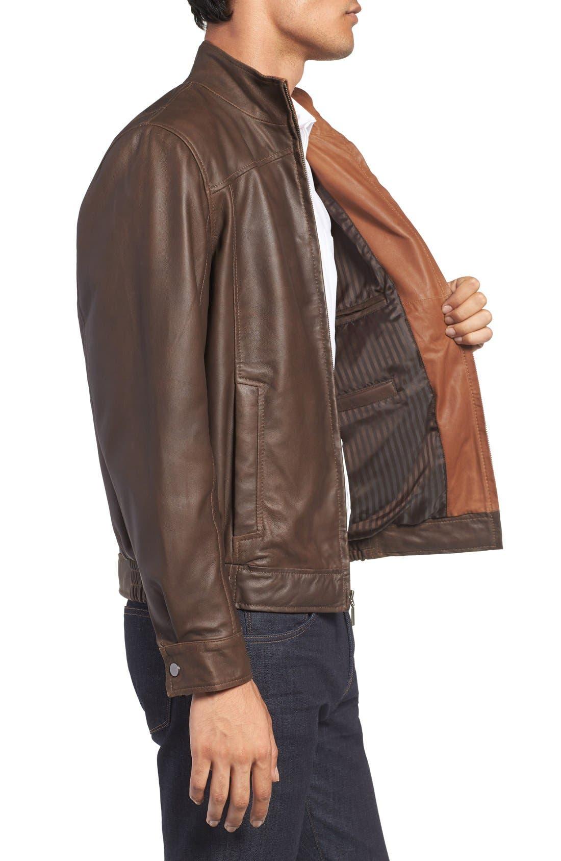 Alternate Image 3  - Missani Le Collezioni Leather Bomber Jacket